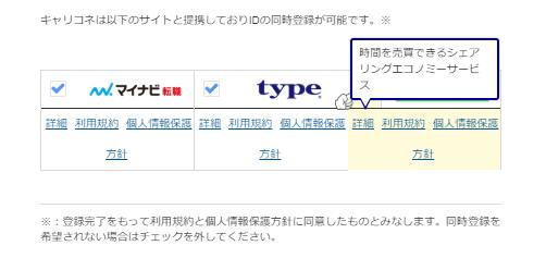 キャリコネに登録すれば他のサイトも同時に登録できる