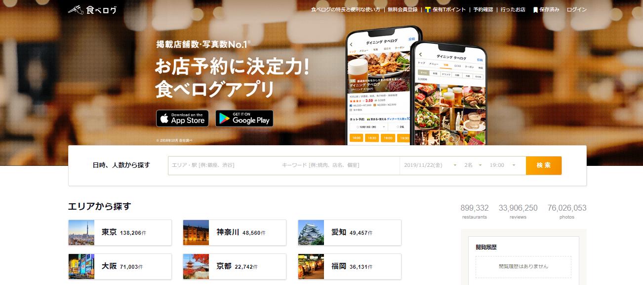 食べログは口コミ投稿型のグルメサイト。