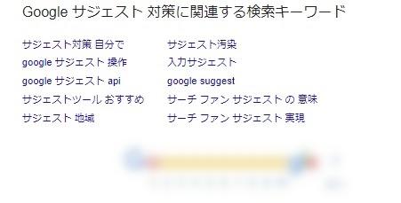 Googleの場合には「関連検索キーワード」